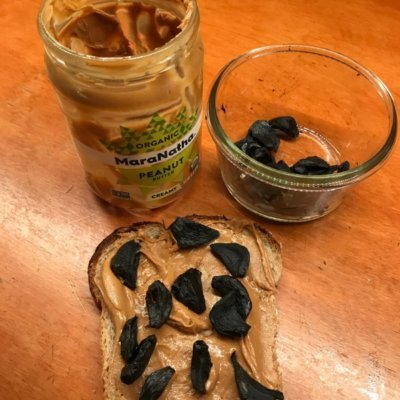 Black Garlic and Peanut Butter on Toast
